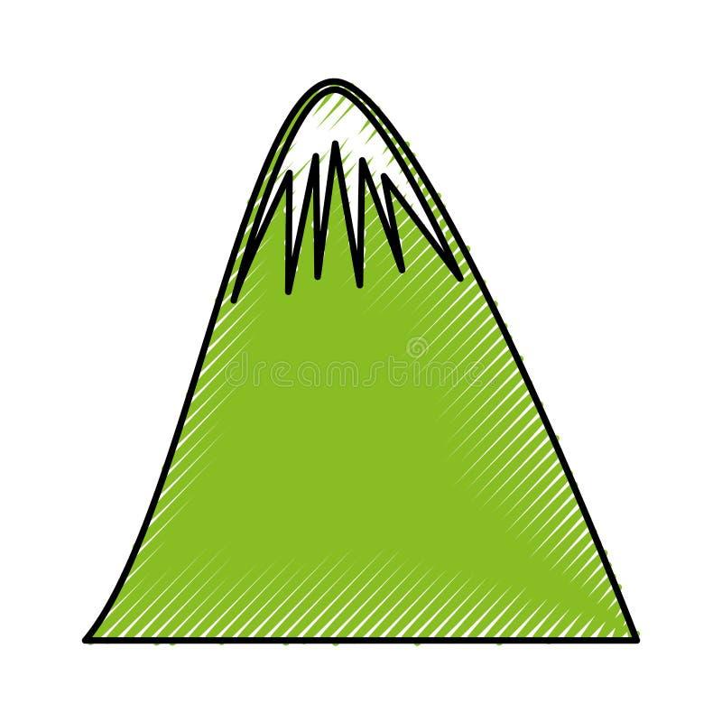 Icono grande del dibujo de la montaña libre illustration