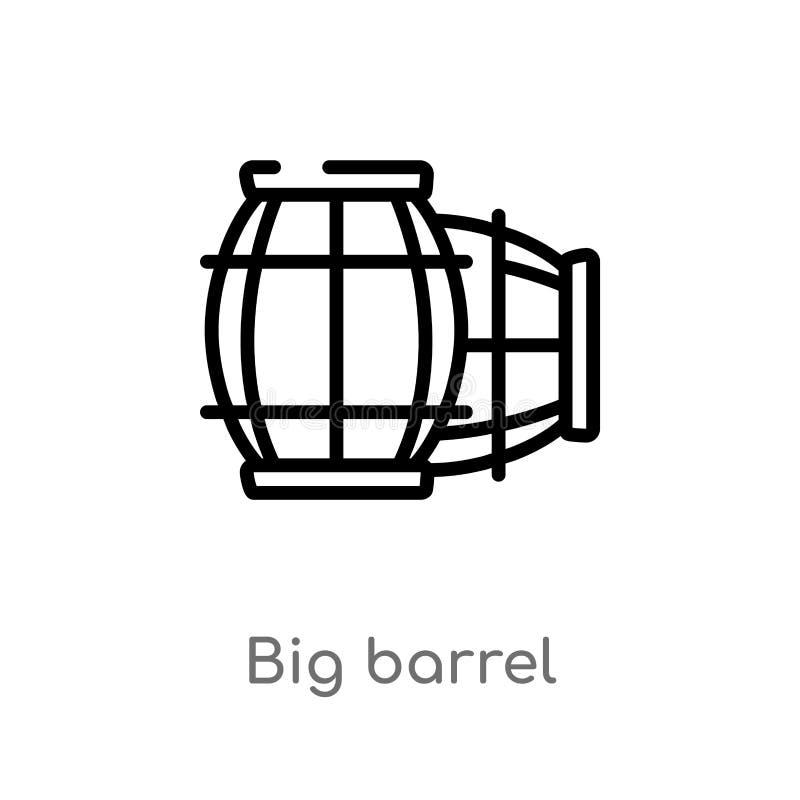 icono grande del vector del barril del esquema línea simple negra aislada ejemplo del elemento del concepto náutico movimiento ed stock de ilustración