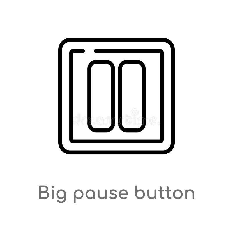 icono grande del vector del botón de pausa del esquema l?nea simple negra aislada ejemplo del elemento del concepto de las multim libre illustration