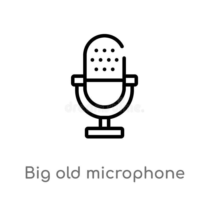 icono grande del vector del micrófono del esquema viejo línea simple negra aislada ejemplo del elemento del concepto de la tecnol stock de ilustración