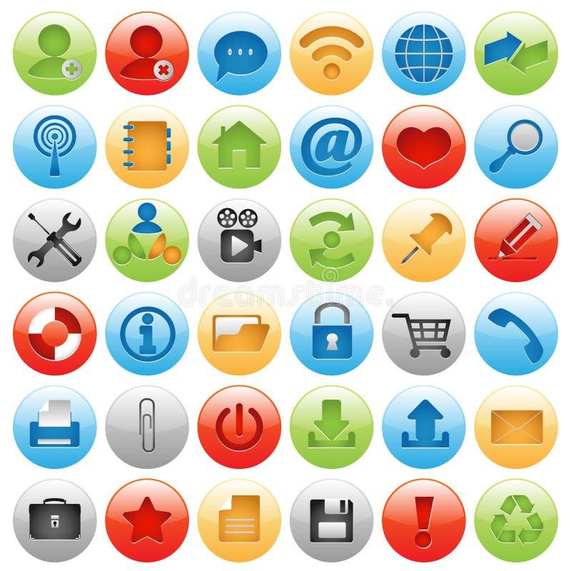 Icono grande fijado para el diseño de Web stock de ilustración