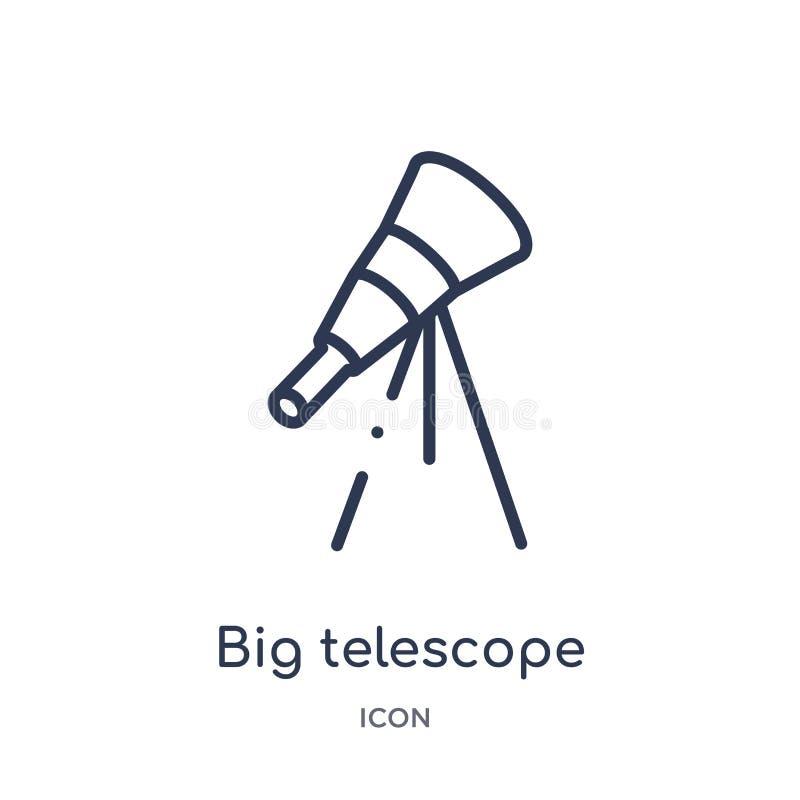 Icono grande linear del telescopio de la colección del esquema de la astronomía Línea fina vector grande del telescopio aislado e libre illustration