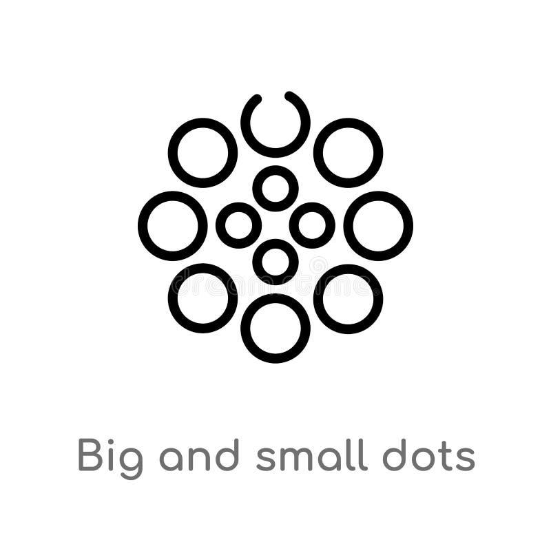 icono grande y pequeño del esquema de los puntos del vector línea simple negra aislada ejemplo del elemento del último concepto d stock de ilustración