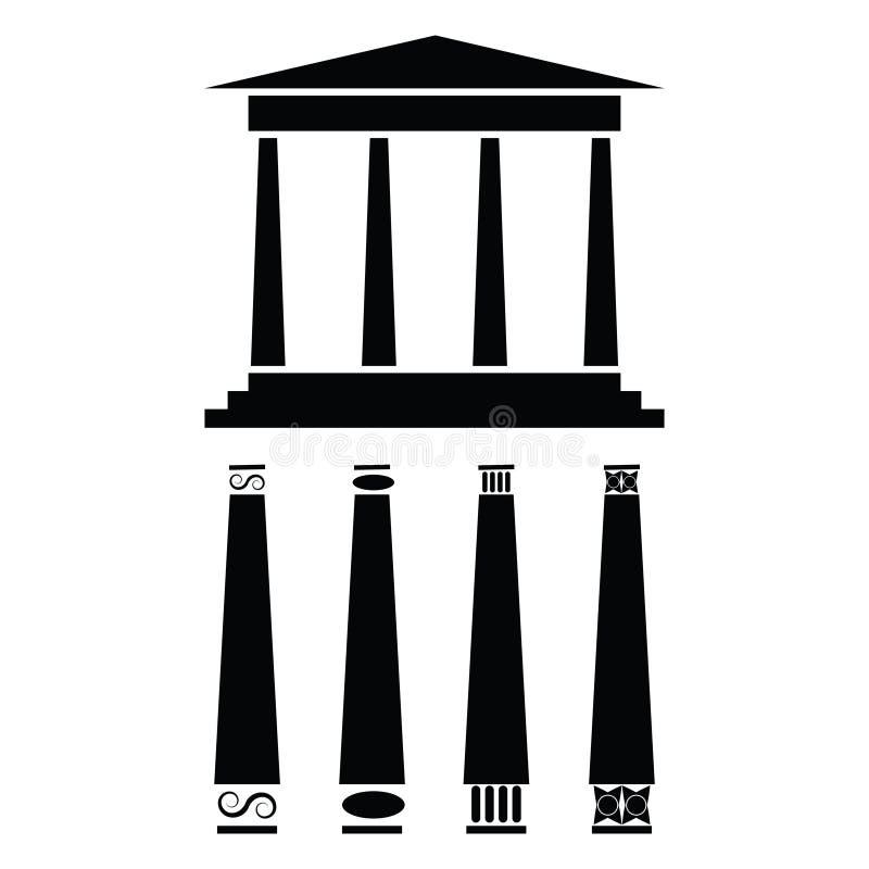 Icono griego del templo ilustración del vector