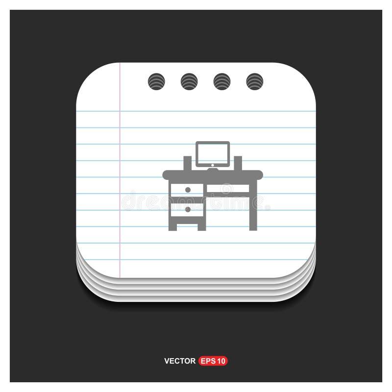 Icono gris del icono de la tabla del ordenador en el vector E de la plantilla del estilo de la libreta libre illustration