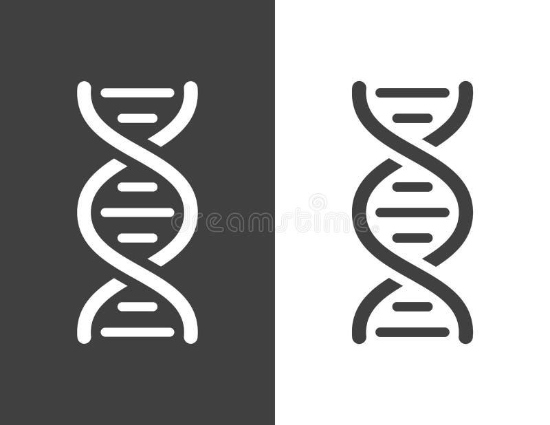 Icono gris oscuro de la hélice de la DNA del vector stock de ilustración
