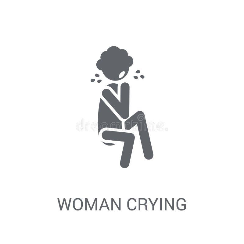 Icono gritador de la mujer Concepto gritador del logotipo de la mujer de moda en el CCB blanco libre illustration