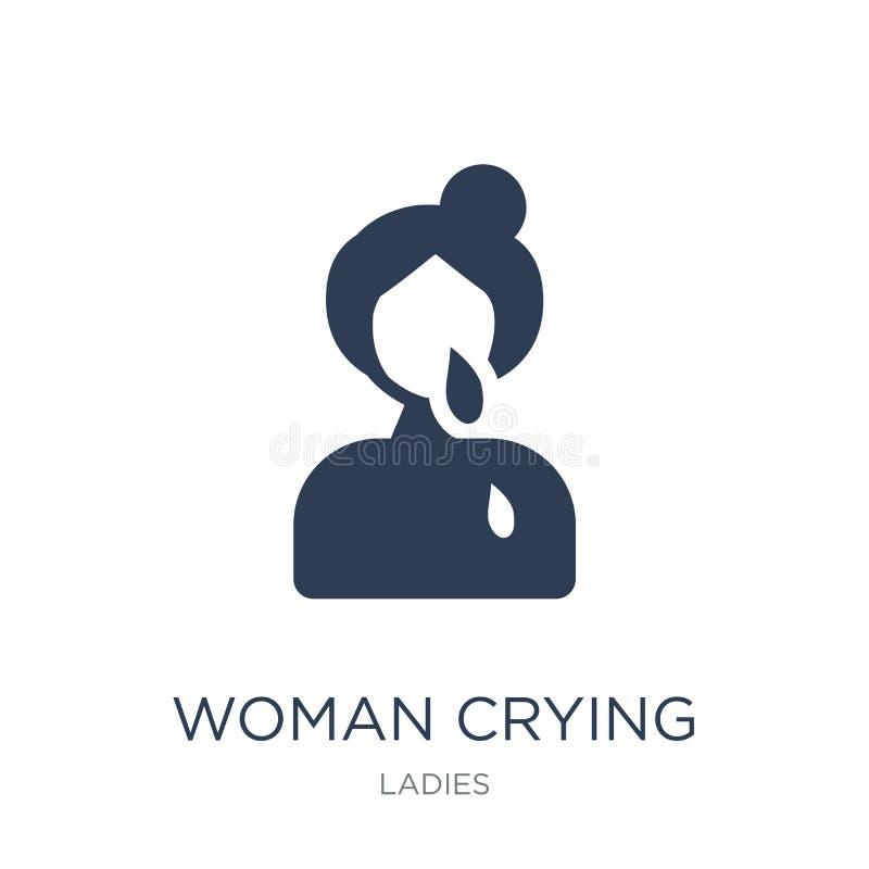Icono gritador de la mujer Icono gritador de la mujer plana de moda del vector en blanco libre illustration