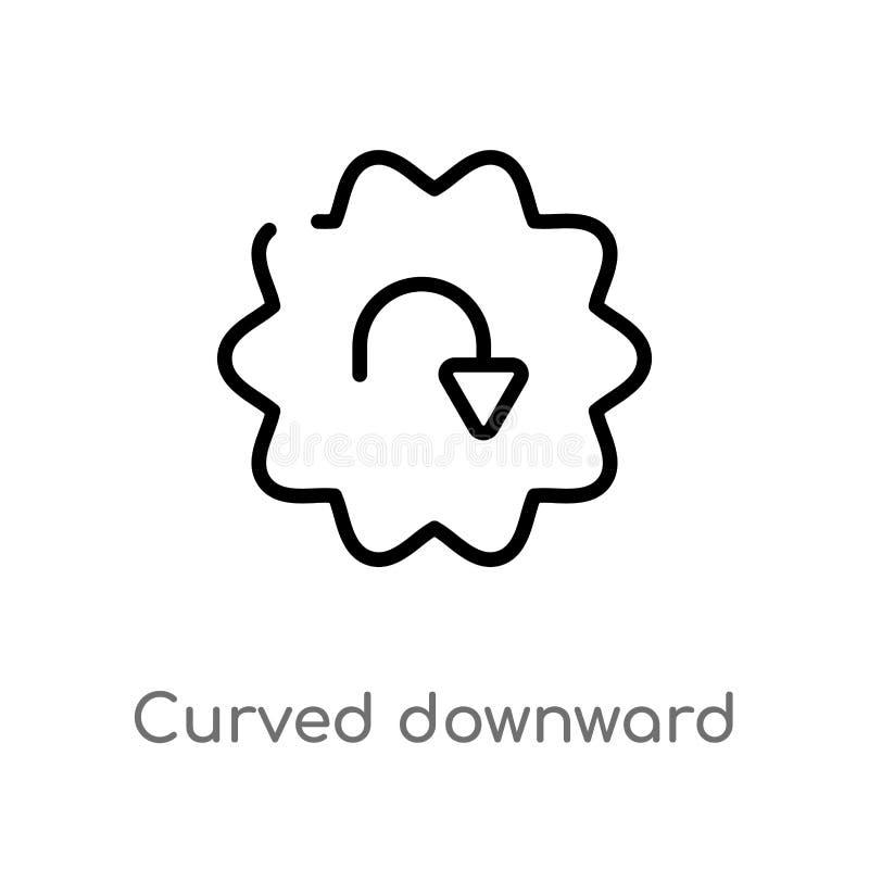 icono hacia abajo curvado esquema del vector de la flecha línea simple negra aislada ejemplo del elemento del concepto de la inte libre illustration
