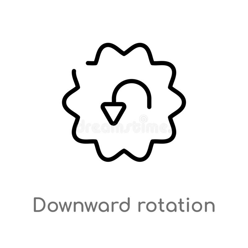 icono hacia abajo del vector de la rotación del esquema l?nea simple negra aislada ejemplo del elemento del concepto de la interf libre illustration