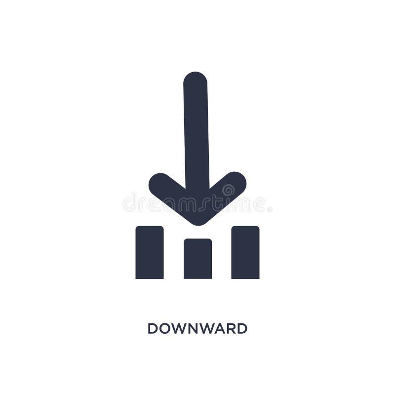 icono hacia abajo en el fondo blanco Ejemplo simple del elemento del concepto de la orientación libre illustration