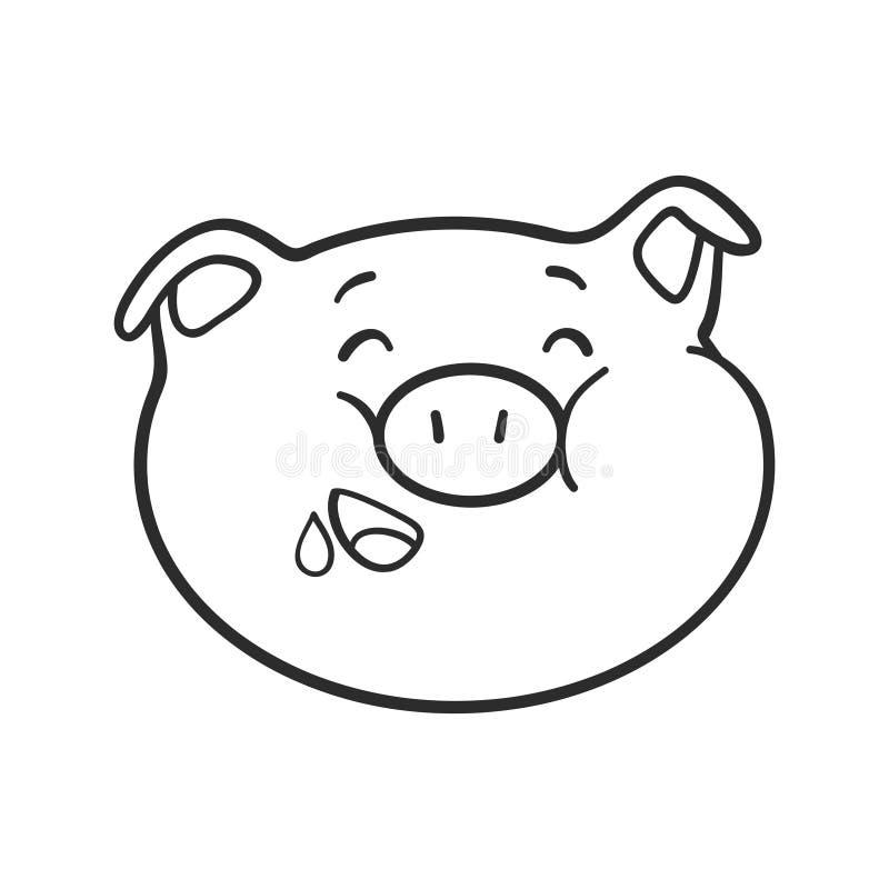 Icono hambriento del emoticon Cerdo de Emoji para el libro de colorear ilustración del vector