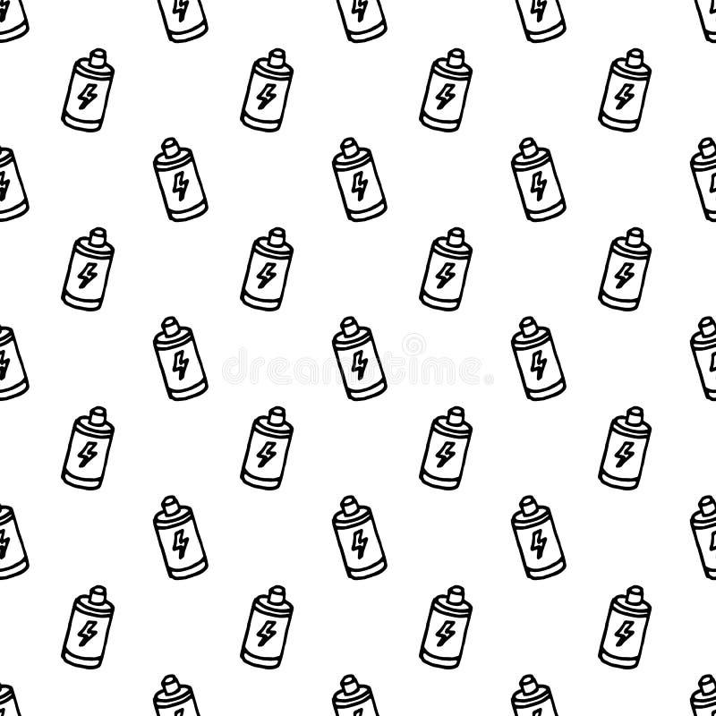 Icono Handdrawn de la batería del garabato del modelo inconsútil r s?mbolo de la muestra Elemento de la decoraci?n Fondo blanco libre illustration