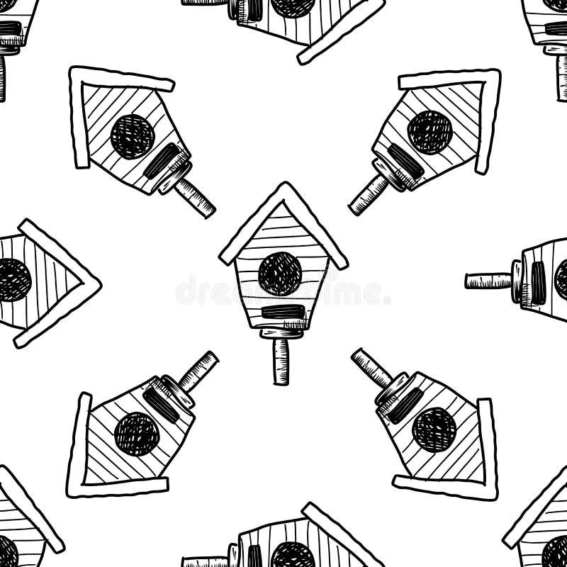 Icono Handdrawn de la pajarera del garabato del modelo inconsútil o s?mbolo de la muestra Elemento de la decoraci?n blanco stock de ilustración