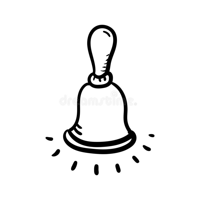 Icono Handdrawn del garabato de la campana Bosquejo negro dibujado mano s?mbolo de la muestra Elemento de la decoraci?n Fondo bla stock de ilustración