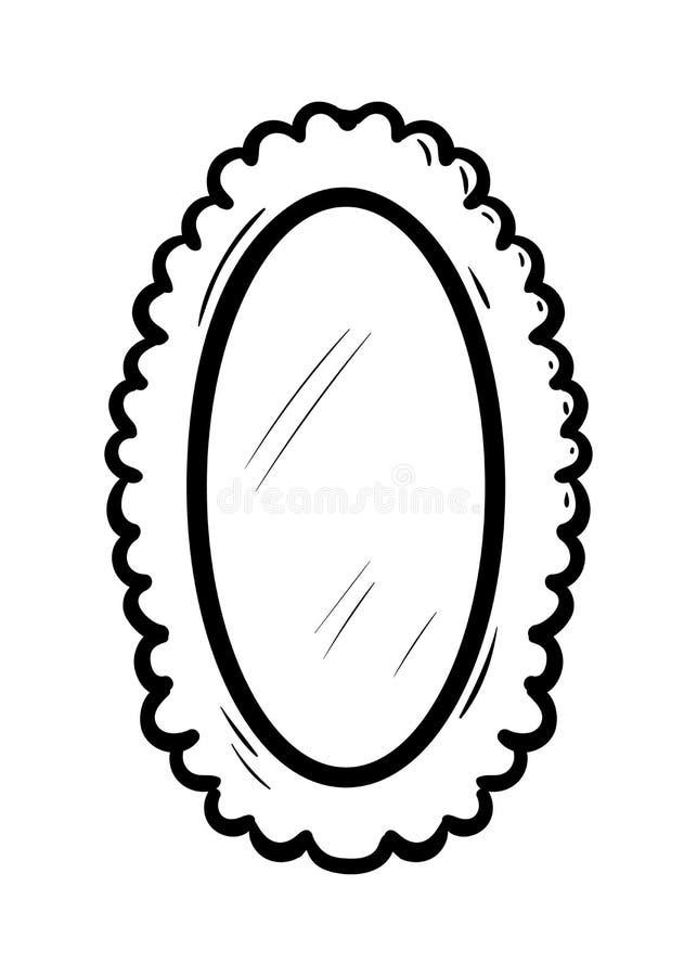 Icono Handdrawn del garabato del espejo Bosquejo negro dibujado mano Símbolo de la historieta de la muestra Elemento de la decora stock de ilustración
