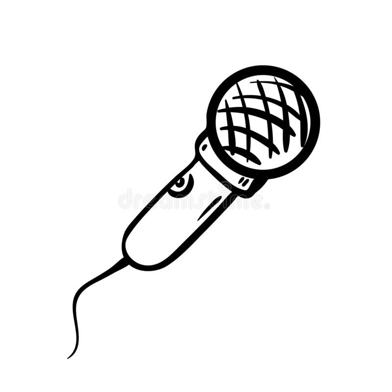 Icono Handdrawn del garabato del micrófono Bosquejo negro dibujado mano Símbolo de la historieta de la muestra Elemento de la dec stock de ilustración