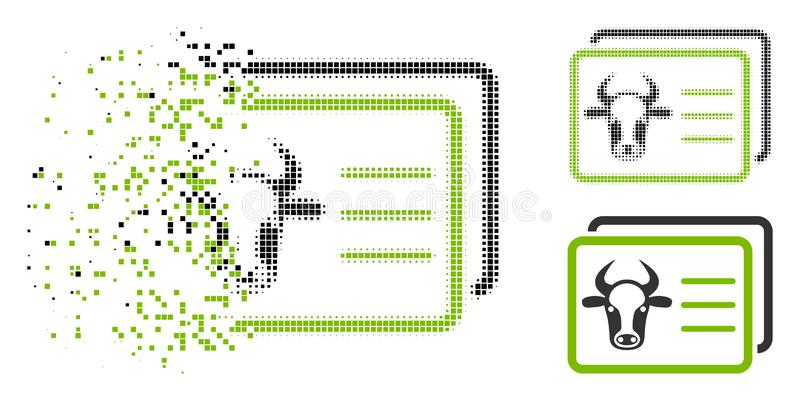 Icono hecho fragmentos de Dot Halftone Cow Account Cards stock de ilustración