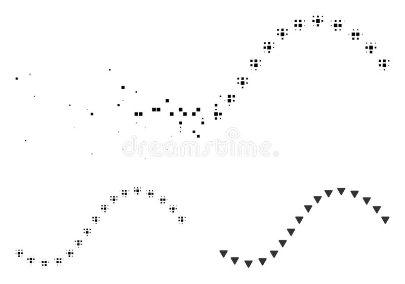 Icono hecho fragmentos de Dot Halftone Dotted Function Line ilustración del vector
