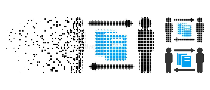 Icono hecho fragmentos de Dot Halftone Persons Books Exchange libre illustration