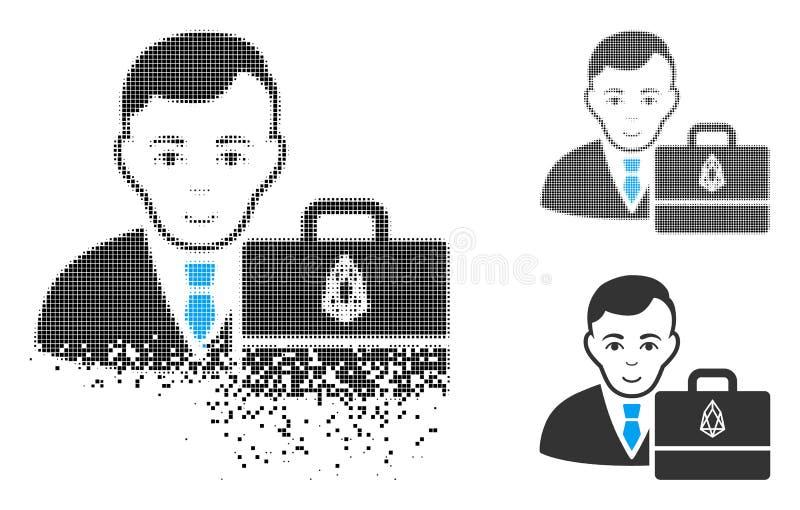 Icono hecho fragmentos del FOE Accounter del tono medio de Pixelated con la cara ilustración del vector