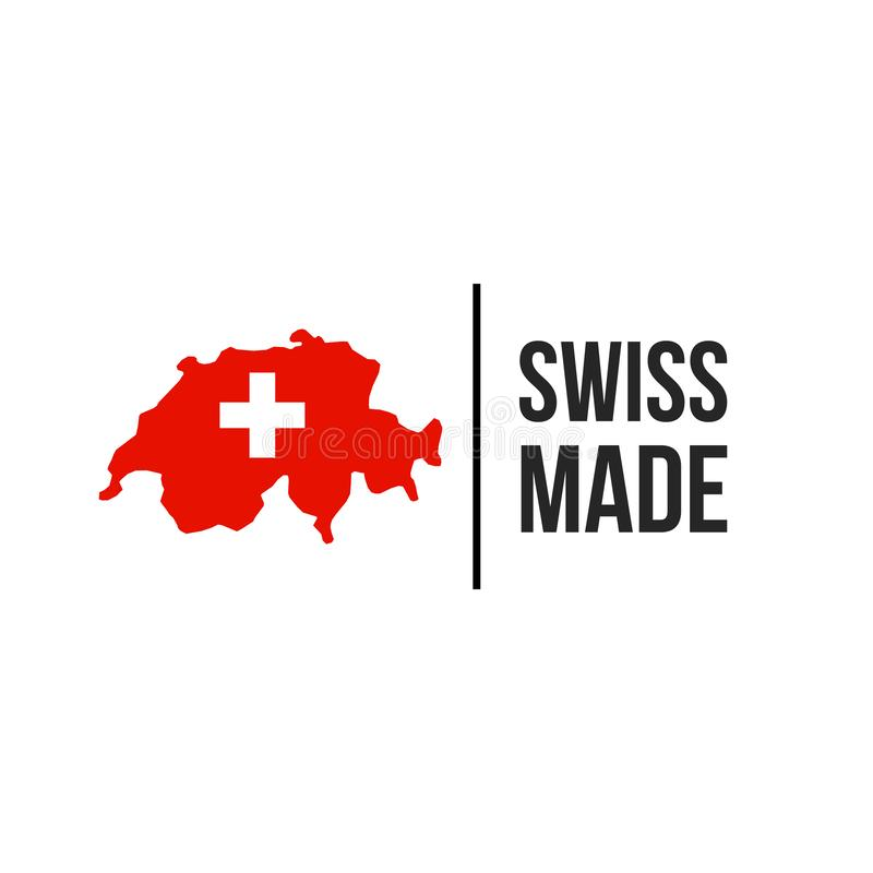 Icono hecho suizo del sello de la bandera del mapa de Suiza stock de ilustración