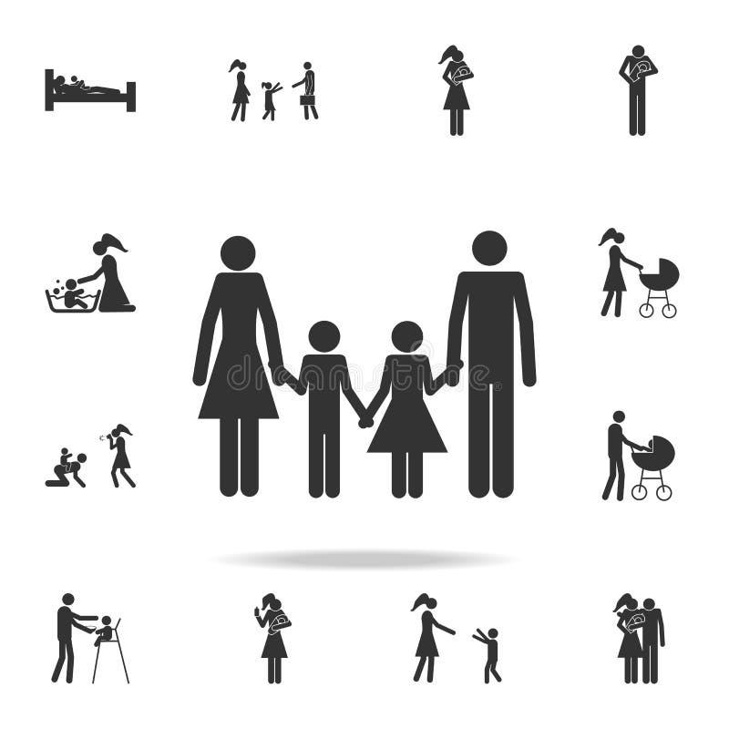 icono hecho y derecho de la familia Sistema detallado de iconos de la familia Diseño gráfico superior Uno de los iconos de la col stock de ilustración