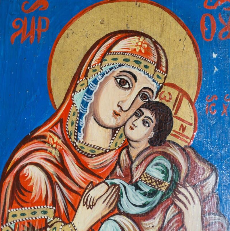 Icono hermoso del griego clásico de Maria fotos de archivo