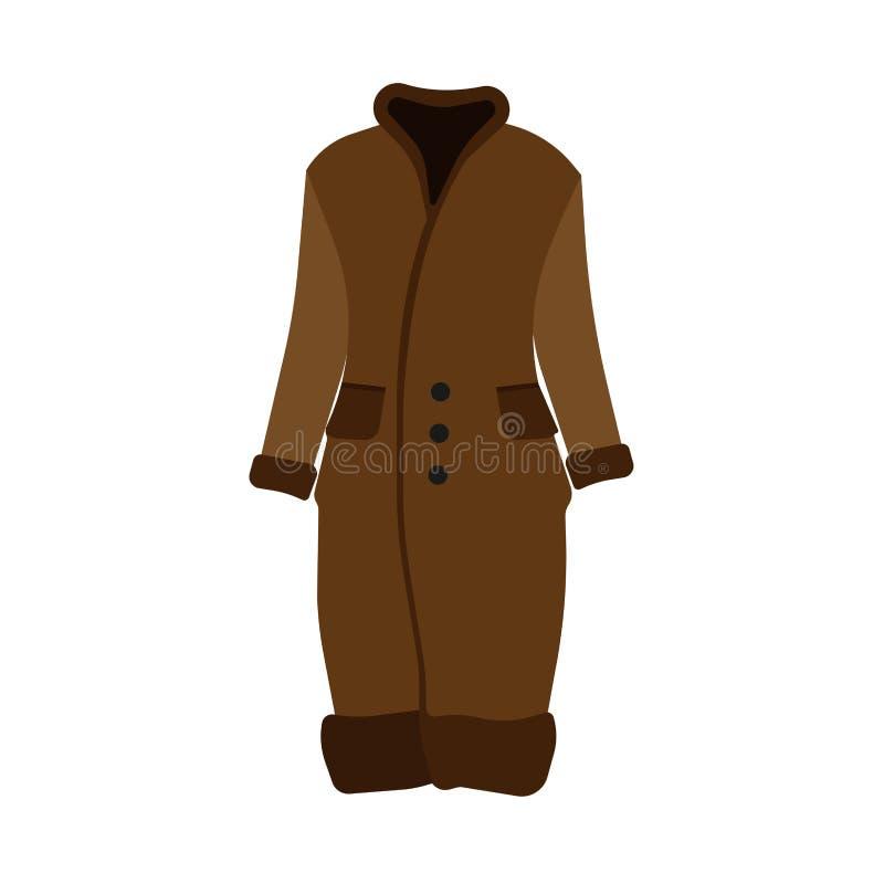 Icono hermoso del vector del ejemplo de la ropa de la capa del marrón del invierno de la piel Colletion moderno de la moda de la  stock de ilustración