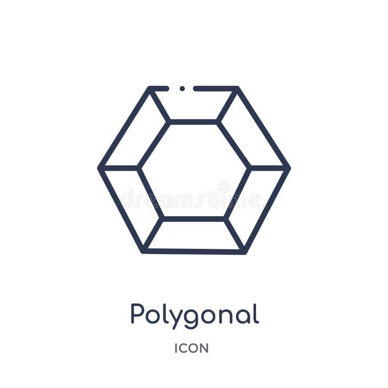 Icono hexagonal poligonal linear de la colección del esquema de la geometría Línea fina icono hexagonal poligonal aislado en el f stock de ilustración