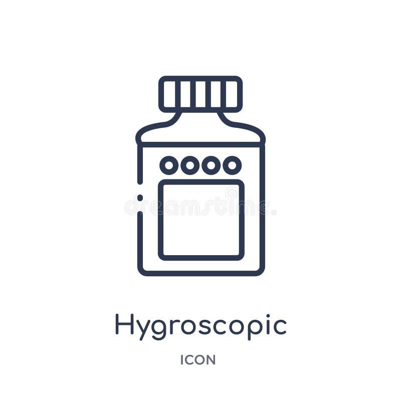 Icono higroscópico linear de la colección de limpieza del esquema Línea fina vector higroscópico aislado en el fondo blanco higro ilustración del vector