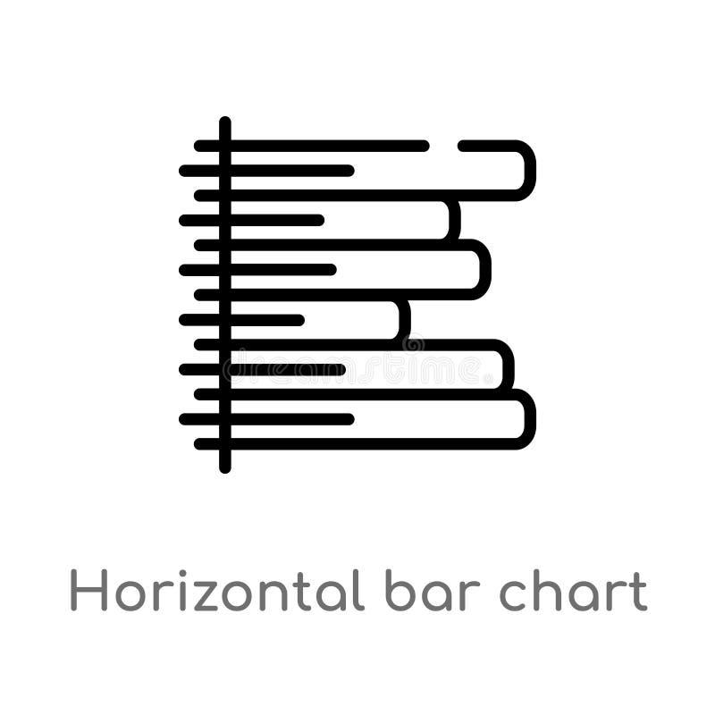 icono horizontal del vector de la carta de barra del esquema línea simple negra aislada ejemplo del elemento del concepto del neg ilustración del vector