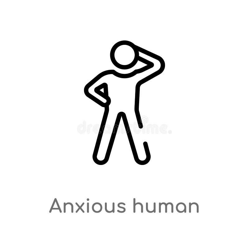 icono humano ansioso del vector del esquema r Movimiento Editable del vector libre illustration
