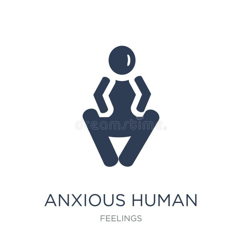 icono humano ansioso Icono humano ansioso del vector plano de moda en whi stock de ilustración