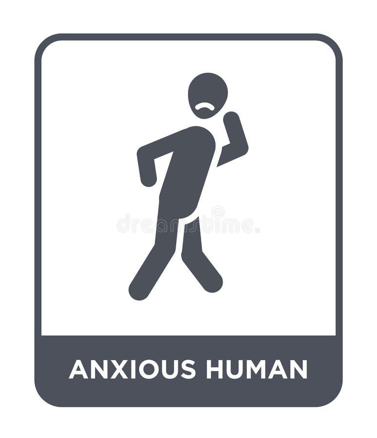 icono humano ansioso en estilo de moda del diseño icono humano ansioso aislado en el fondo blanco icono humano ansioso del vector ilustración del vector