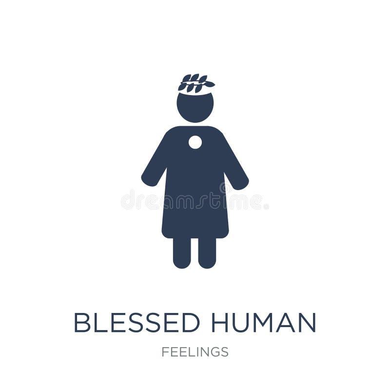icono humano bendecido El vector plano de moda bendijo el icono humano en whi libre illustration