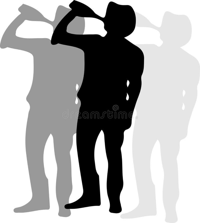 Icono humano borracho aislado en fondo blanco stock de ilustración