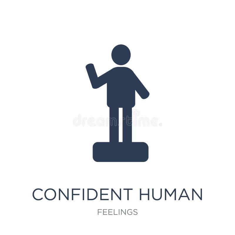 icono humano confiado Icono humano confiado del vector plano de moda encendido stock de ilustración