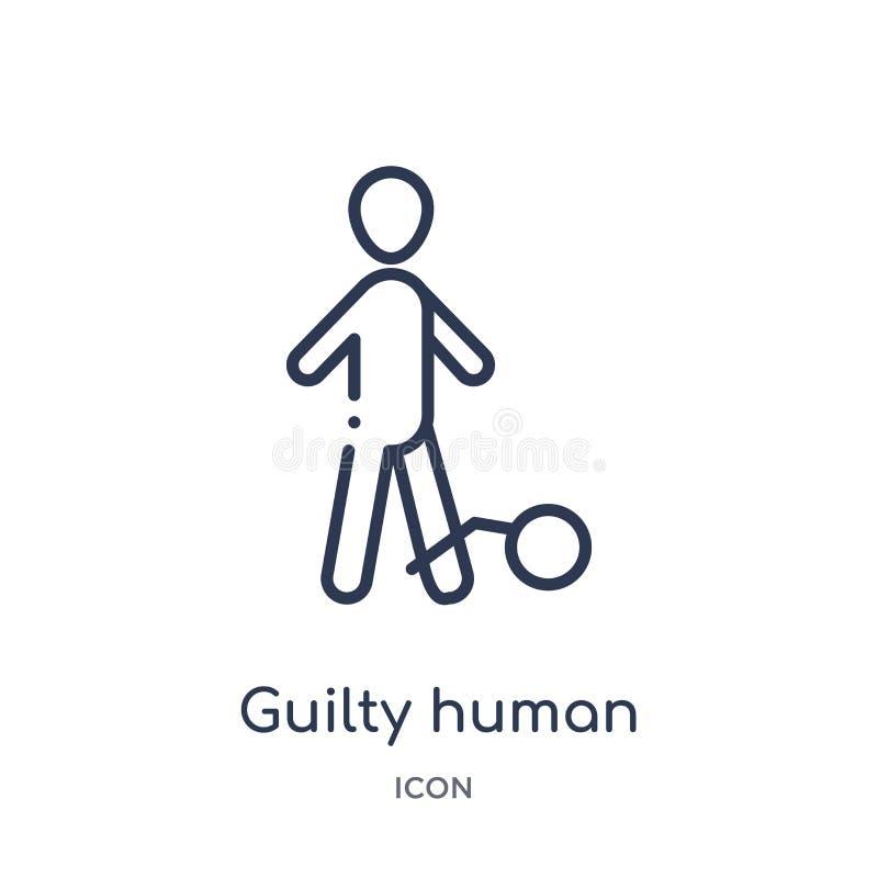 Icono humano culpable linear de la colección del esquema de las sensaciones Línea fina vector humano culpable aislado en el fondo stock de ilustración