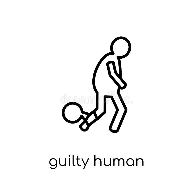 icono humano culpable Ser humano culpable del vector linear plano moderno de moda libre illustration