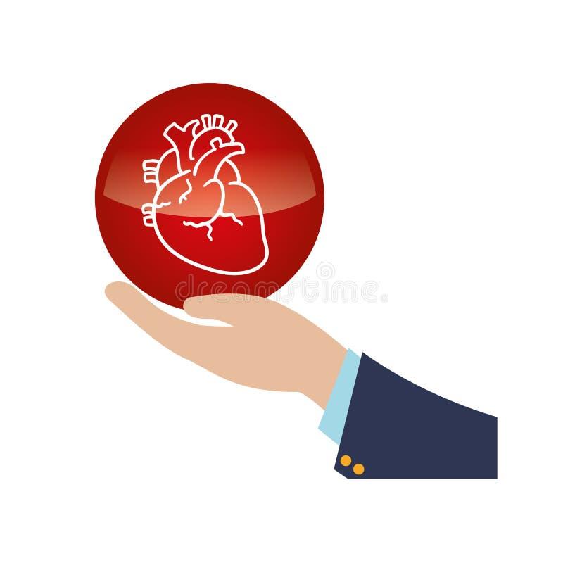 Icono humano de elevación del órgano del corazón de la mano libre illustration