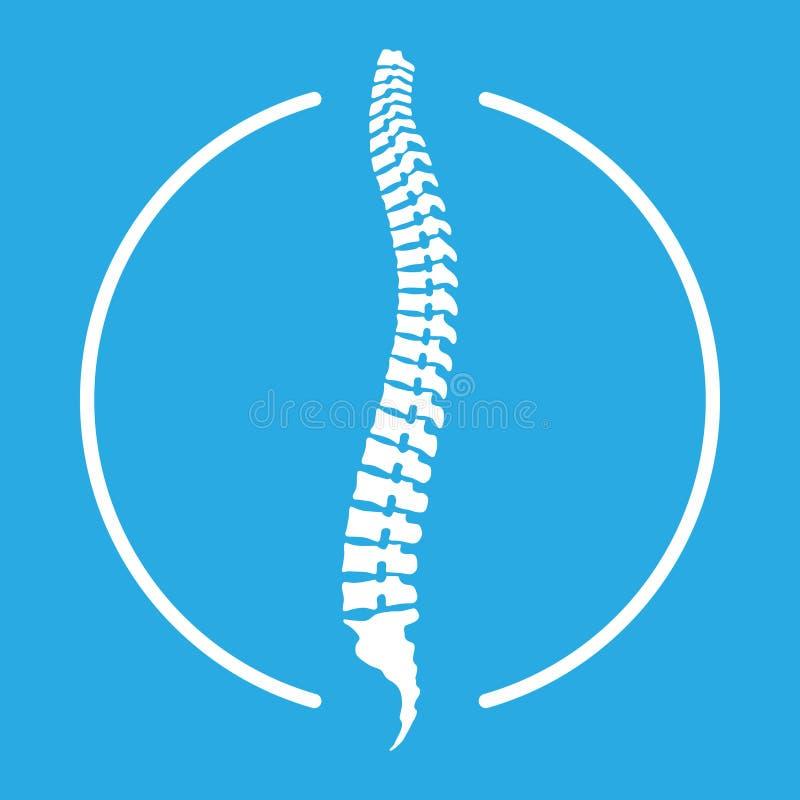 Icono humano de la espina dorsal en el círculo stock de ilustración
