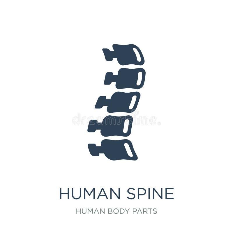 icono humano de la espina dorsal en estilo de moda del diseño Icono humano de la espina dorsal aislado en el fondo blanco icono h ilustración del vector