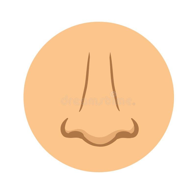 Icono humano de la nariz Ejemplo del pictograma del vector, aislado en blanco libre illustration