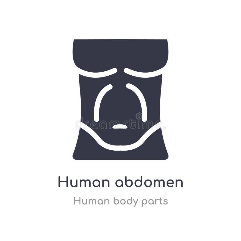 icono humano del esquema del abdomen l?nea aislada ejemplo del vector de la colecci?n humana de las partes del cuerpo abdomen hum ilustración del vector