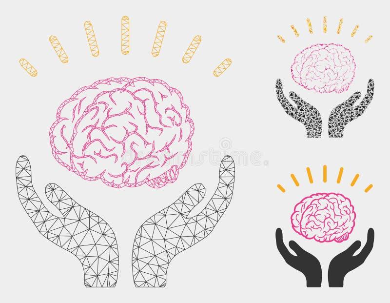 Icono humano del mosaico del modelo y del triángulo de Brain Knowledge Vector Mesh Network stock de ilustración
