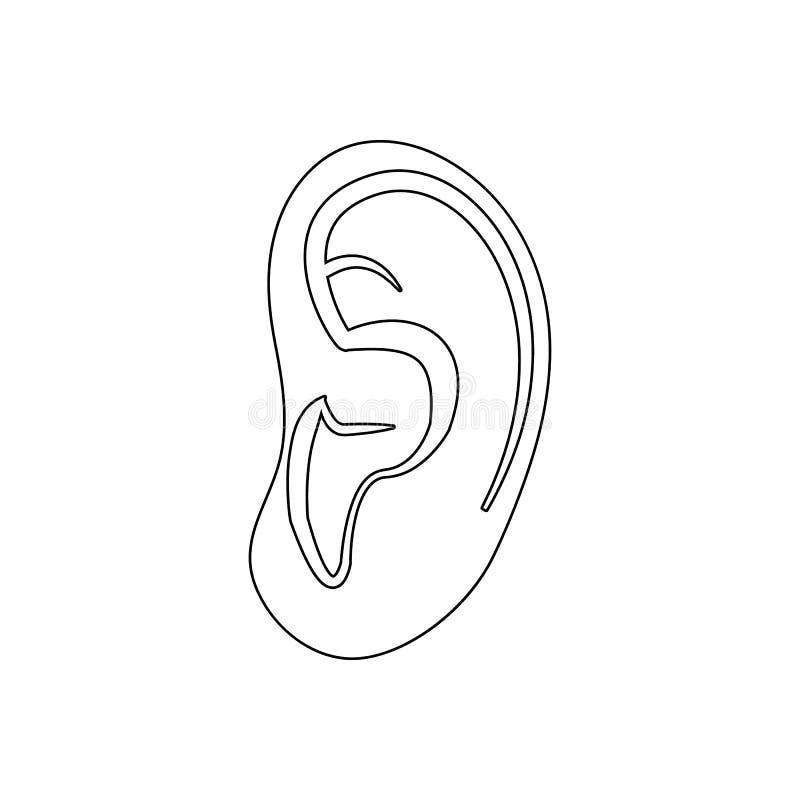 Icono humano del oído Elemento de las piezas humanas para el concepto y el icono móviles de los apps de la web Esquema, línea fin stock de ilustración