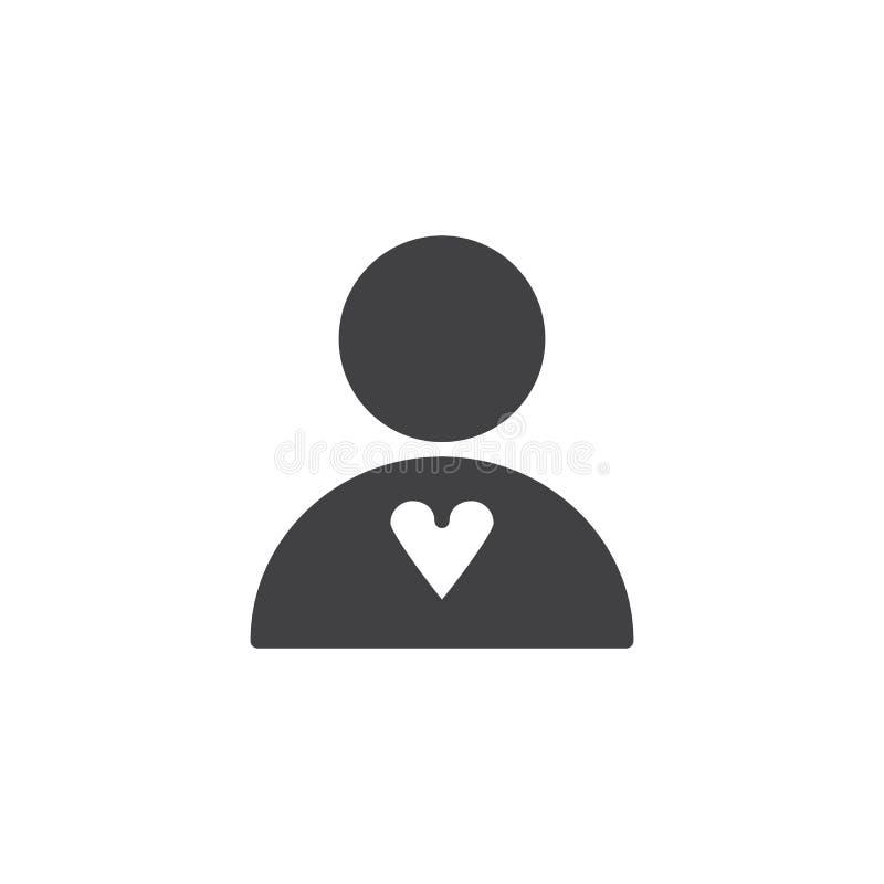 Icono humano del vector del corazón ilustración del vector