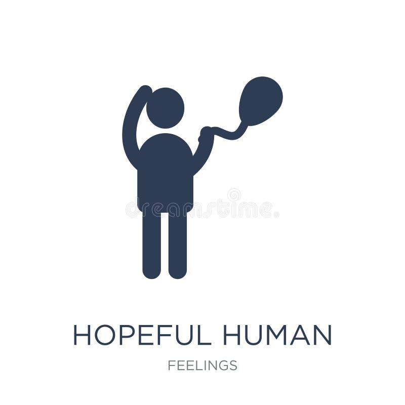 icono humano esperanzado Icono humano esperanzado del vector plano de moda en whi stock de ilustración