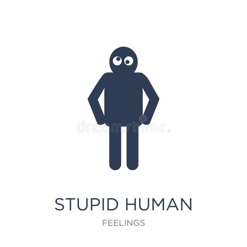 icono humano estúpido Icono humano estúpido del vector plano de moda en blanco stock de ilustración
